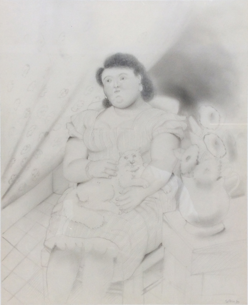 Woman with cat by Botero Fernando