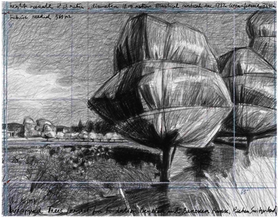 Wrapped Trees, Project for Fondation Beyeler and Berower Park, Riehen, Switzerland by Christo