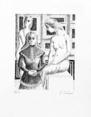 Femmes au tabouret  by Delvaux Paul