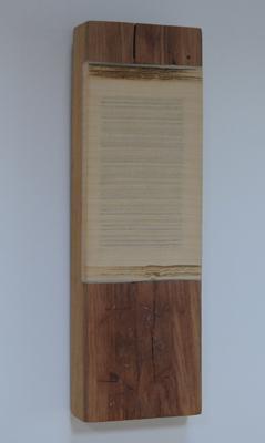 Horizontaal versneden boek ingewerkt in stuk plank (wijnhout), 2000 - P.18.05.00 by Denmark
