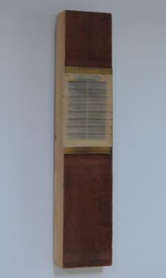 Horizontaal versneden boek ingewerkt in stuk plank (wijnhout), 2007 - P.11.09.07 by Denmark