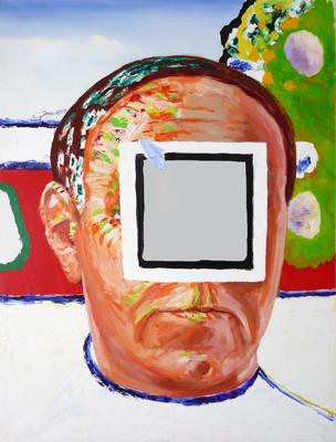 Zelfportret met spiegel by Raveel Roger