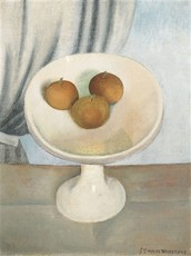 Still life with fruit dish by Van De Woestijne Gustave