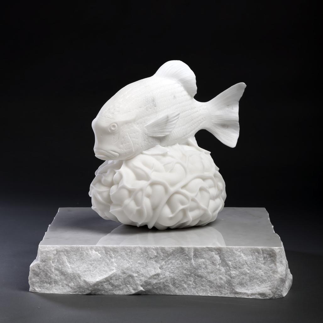Brein met een symphorichthys spilurus (Hommage aan Jacques Cousteau) by Fabre Jan