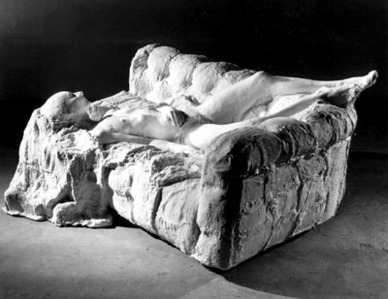 Nude on couch (On her back) by Segal George