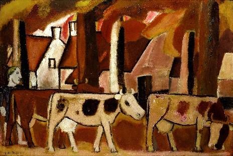 Les vaches dans une drève by De Smet Gustave