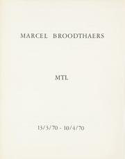 Marcel Broodthaers MTL 18/5/72-17/6/72 by Broodthaers Marcel