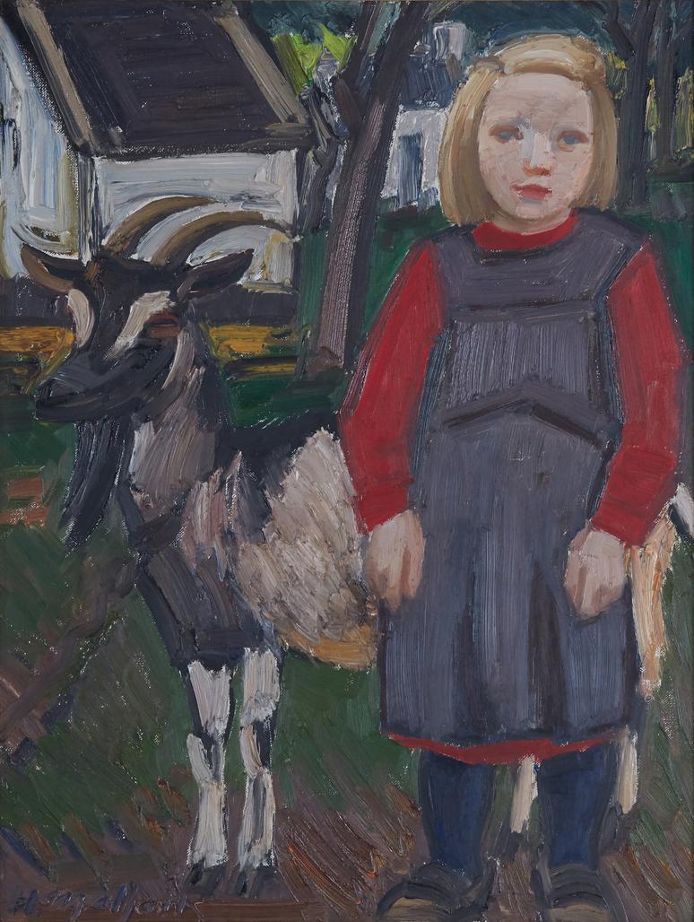 Klein meisje en geit by Malfait Hubert
