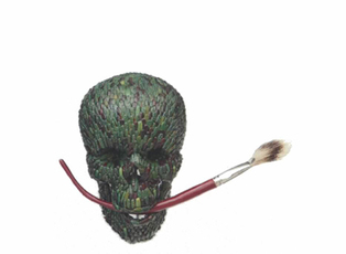 Skull with Brush (badger hair) by Fabre Jan