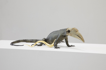 Golden Cord Iguana with hornbill head by Vanmechelen Koen