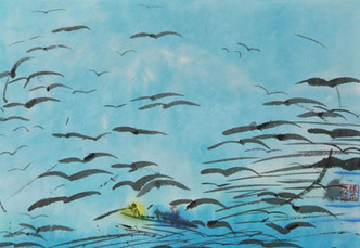 Birds over the waves by Ting Walasse