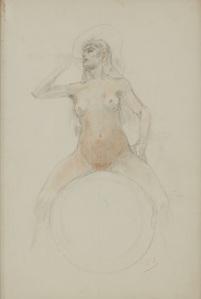 Femme assise sur une sphère by Rops Felicien