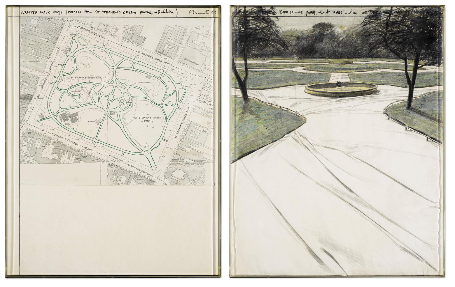 Wrapped Walk Ways (Project for St. Stephen's Green Park, Dublin) by Christo