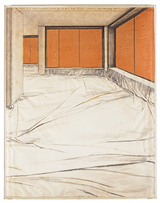 Wrapped floors and closed windows (Project for the Hans Lange Museum, Krefeld, West Germany)  by Christo