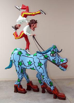 Jason le cheval écologiste américain et des deux équilibristes de l'Avé Maria. by Combas Robert