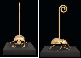 Holy dung beetle with walking stick by Fabre Jan