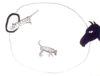 Een panter : verminderd! Een hengst : uitgedund! Een wolf : getemd! by Raveel Roger