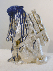 Cloned marmot with petbottle + blue paint by Sweetlove William
