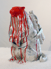 Cloned marmot with petbottle + red paint by Sweetlove William