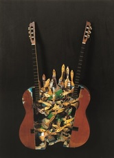 Vertically halved guitar with paint brushes by
